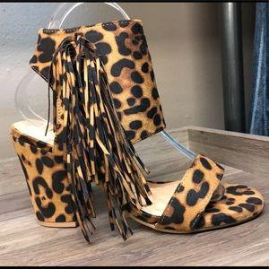 NWT Leopard Fringe Heels